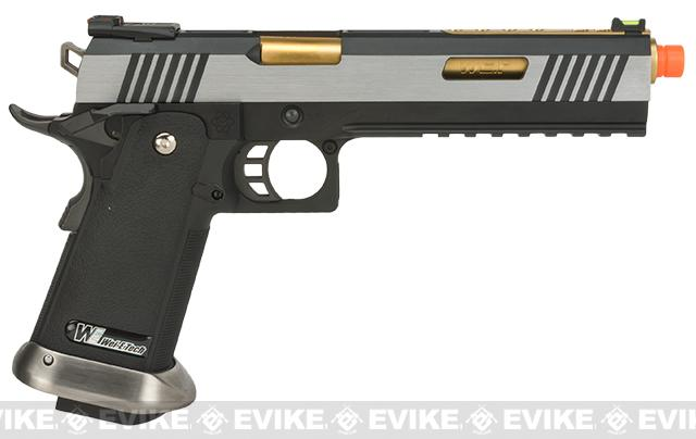 WE-Tech Hi-Capa 6 IREX Competition Pistol - Silver  / Gold Barrel