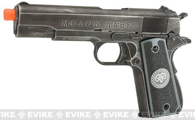 Pre-Order ETA May 2017 Evike.com Nostradamus Custom Armorer Works Molon Labe Gas Blowback Airsoft Pistol with Angel Custom Tac-Glove Grips (Sign: Aries)
