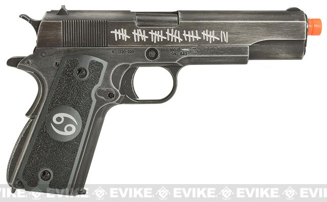 Pre-Order ETA May 2017 Evike.com Nostradamus Custom Armorer Works Molon Labe Gas Blowback Airsoft Pistol with Angel Custom Tac-Glove Grips (Sign: Cancer)