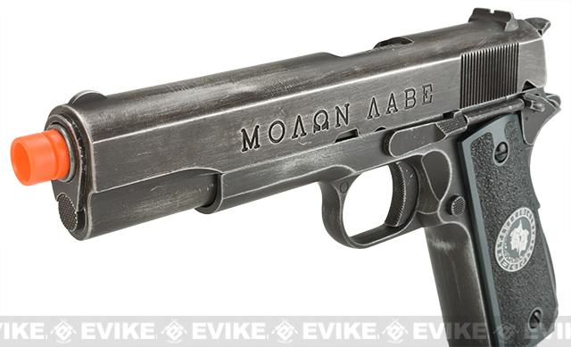 Evike.com Nostradamus Custom Armorer Works Molon Labe Gas Blowback Airsoft Pistol with Angel Custom Tac-Glove Grips (Sign: Gemini)