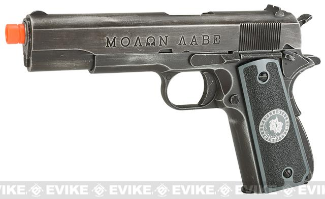Pre-Order ETA July 2017 Evike.com Nostradamus Custom Armorer Works Molon Labe Gas Blowback Airsoft Pistol with Angel Custom Tac-Glove Grips (Sign: Gemini)