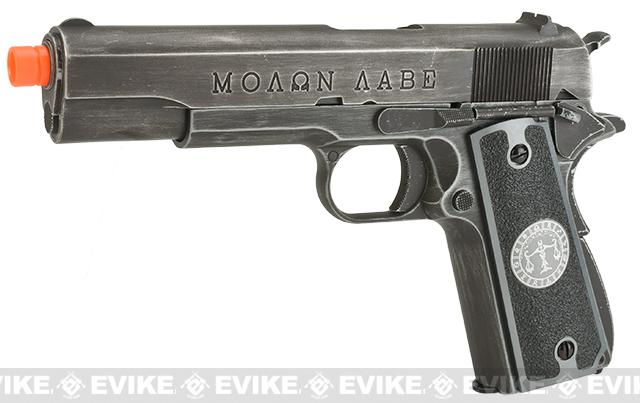 Pre-Order ETA July 2017 Evike.com Nostradamus Custom Armorer Works Molon Labe Gas Blowback Airsoft Pistol with Angel Custom Tac-Glove Grips (Sign: Libra)