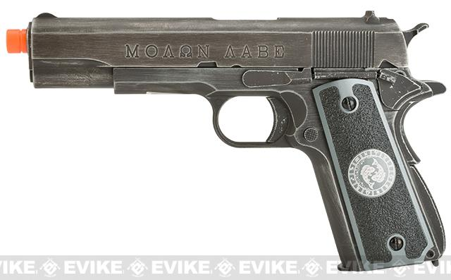 Pre-Order ETA May 2017 Evike.com Nostradamus Custom Armorer Works Molon Labe Gas Blowback Airsoft Pistol with Angel Custom Tac-Glove Grips (Sign: Pisces)