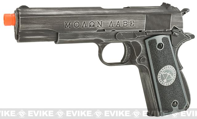 Evike.com Nostradamus Custom Armorer Works Molon Labe Gas Blowback Airsoft Pistol with Angel Custom Tac-Glove Grips (Sign: Sagittarius)