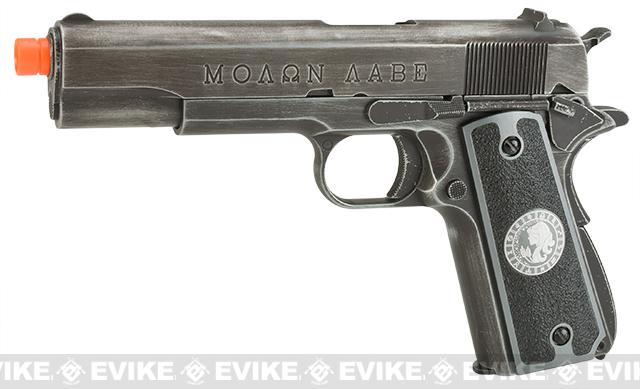 Pre-Order ETA May 2017 Evike.com Nostradamus Custom Armorer Works Molon Labe Gas Blowback Airsoft Pistol with Angel Custom Tac-Glove Grips (Sign: Virgo)