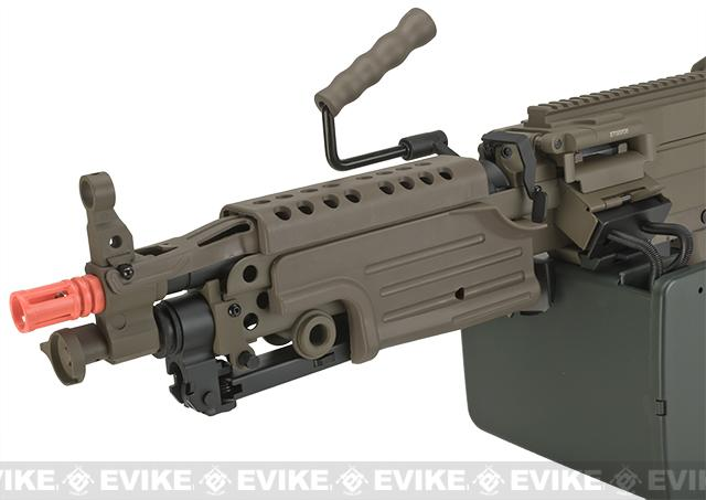 A&K Full Metal M249 Para SAW Airsoft AEG with Electric Drum Magazine - Tan