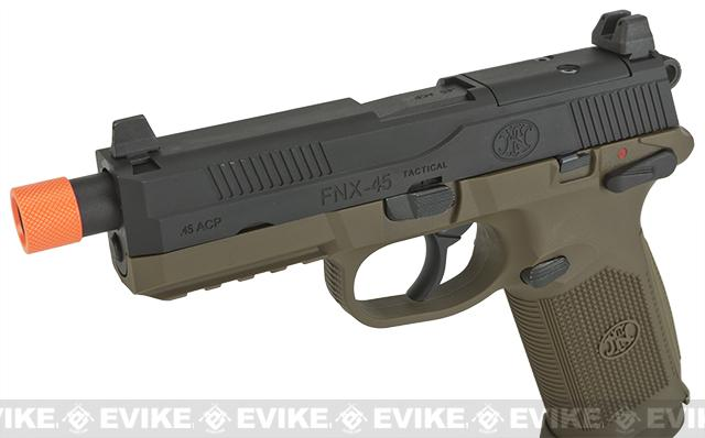 FN Herstal Custom FNX-45 Tactical Airsoft Gas Blowback Pistol by Cybergun - Black Slide & Tan Frame