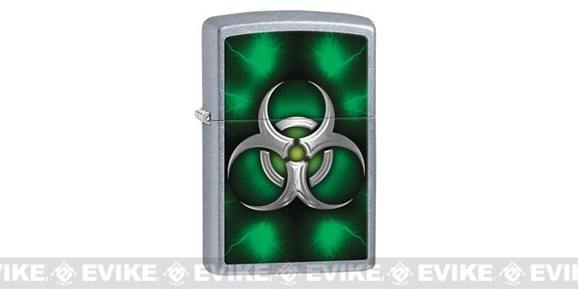 Zippo Classic Lighter - Green Biohazard (Brushed Chrome)