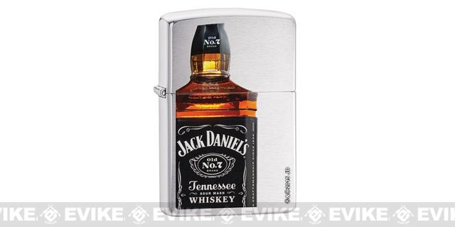 Zippo Classic Lighter - Jack Daniels (Brushed Chrome)