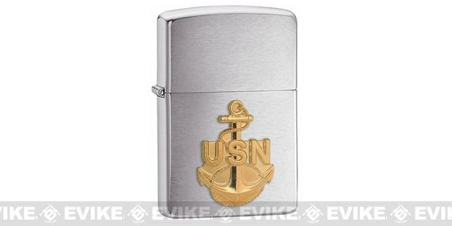 Zippo Classic Lighter - Navy Anchor Emblem  (Brushed Chrome)