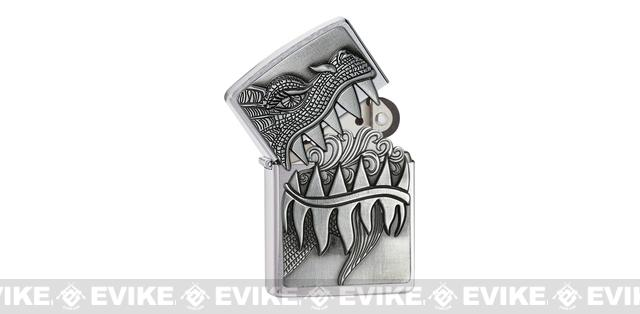 Zippo Classic Lighter - Fire Breathing Dragon (Brushed Chrome)