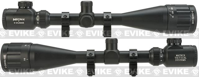 Matrix M2019 6-24x50AOE Illuminated Scope with Mounting Rings, Lens Covers and Sunshade