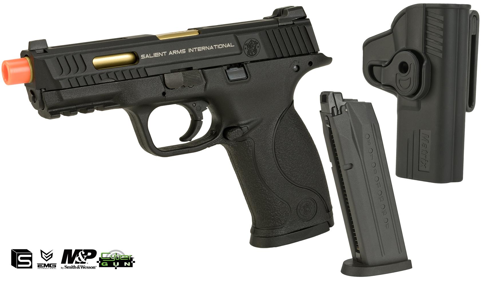 EMG / SAI / Smith & Wesson Licensed M&P 9 Full Size Airsoft GBB Pistol  (Package: Black / Add Extra Magazine + Belt Holster)