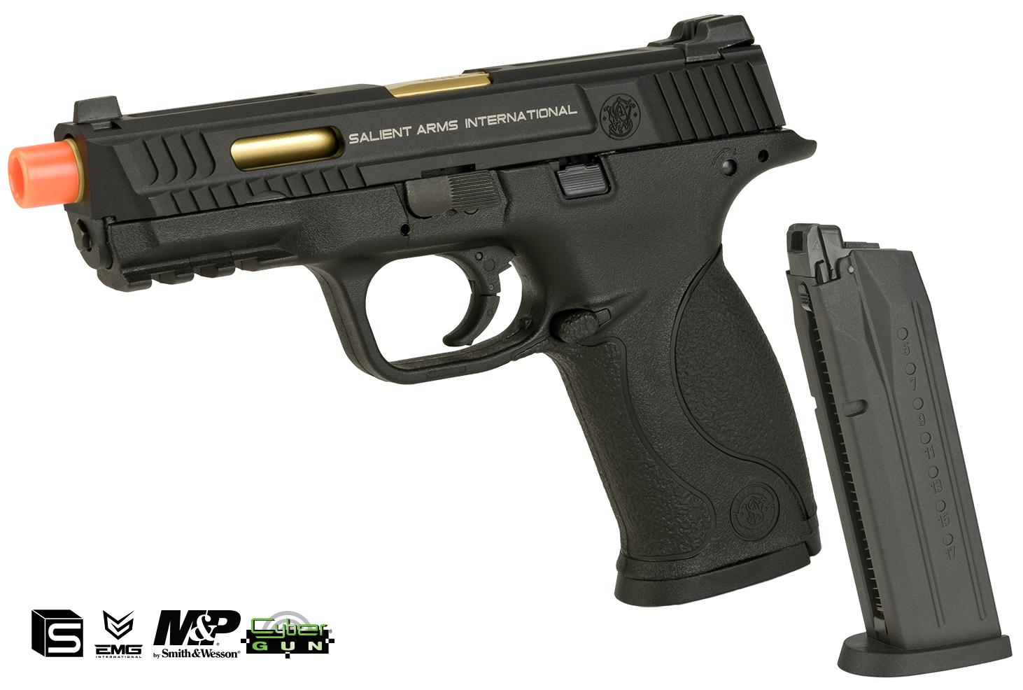 EMG / SAI / Smith & Wesson Licensed M&P 9 Full Size Airsoft GBB Pistol - Black (Package: Add Extra Magazine)