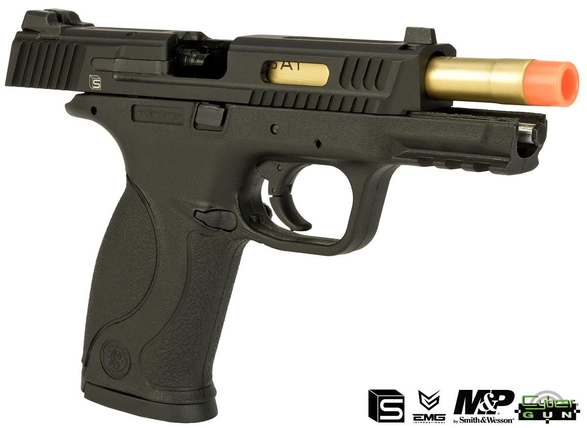 EMG / SAI / Smith & Wesson Licensed M&P 9 Full Size Airsoft GBB Pistol - Black (Package: Add Extra Magazine + Belt Holster)