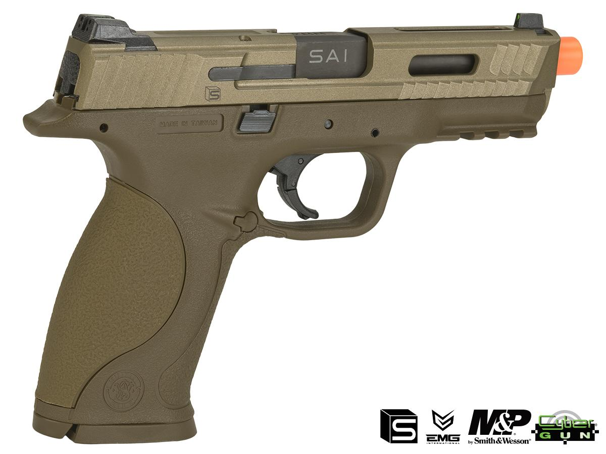 EMG / SAI / Smith & Wesson Licensed M&P 9 Full Size Airsoft GBB Pistol - Tan (Package: Gun Only)