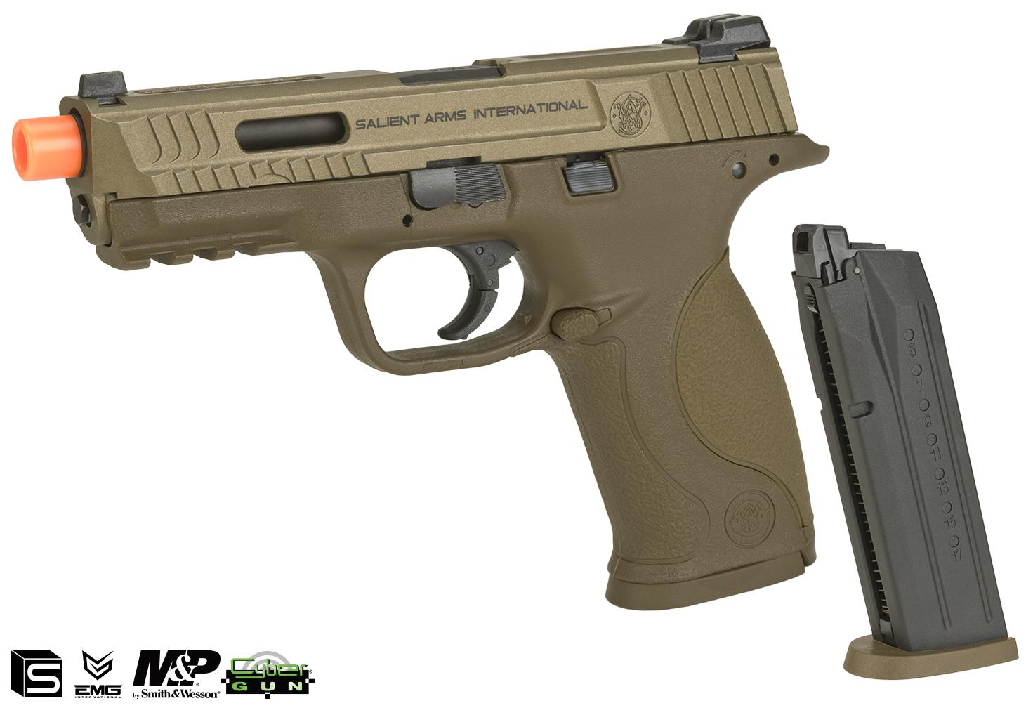 EMG / SAI / Smith & Wesson Licensed M&P 9 Full Size Airsoft GBB Pistol - Tan (Package: Add Extra Magazine)