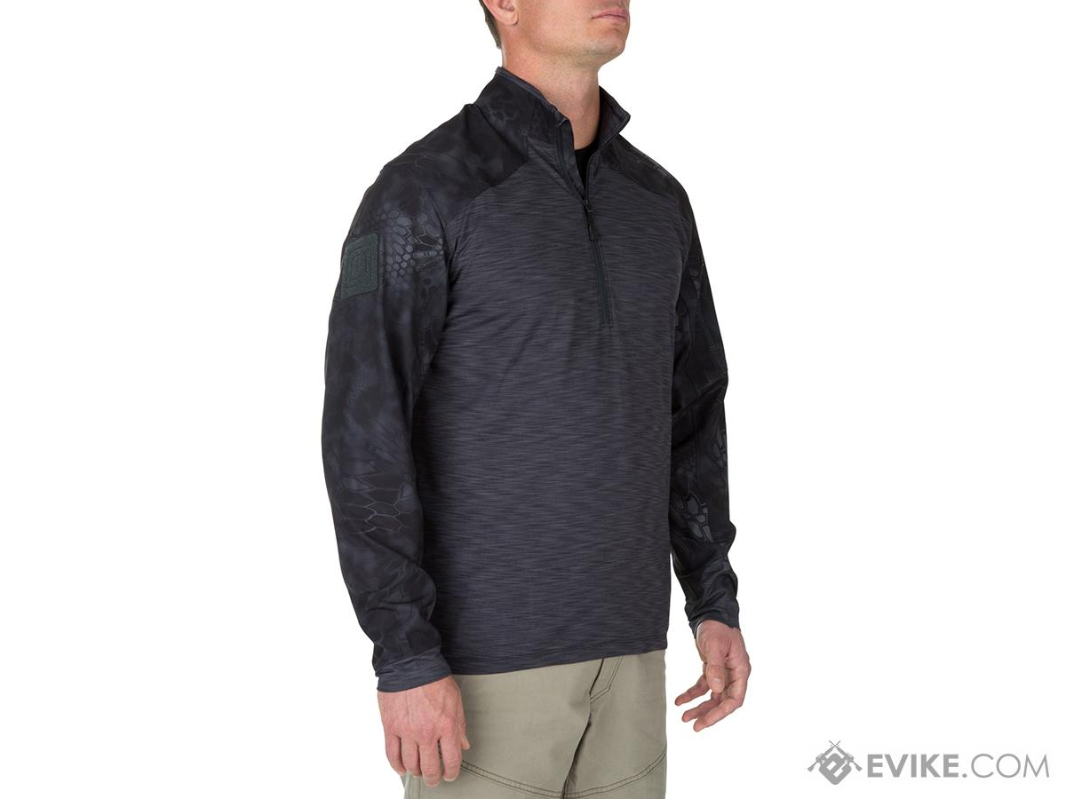5.11 Tactical Rapid Half Zip Combat Shirt with Kryptek Sleeves - Charcoal (Size: Medium)