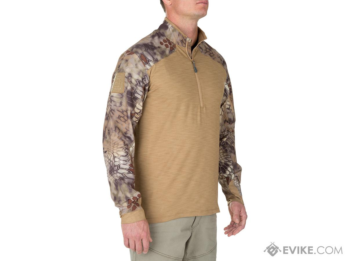 5.11 Tactical Rapid Half Zip Combat Shirt with Kryptek Sleeves - Coyote (Size: Large)