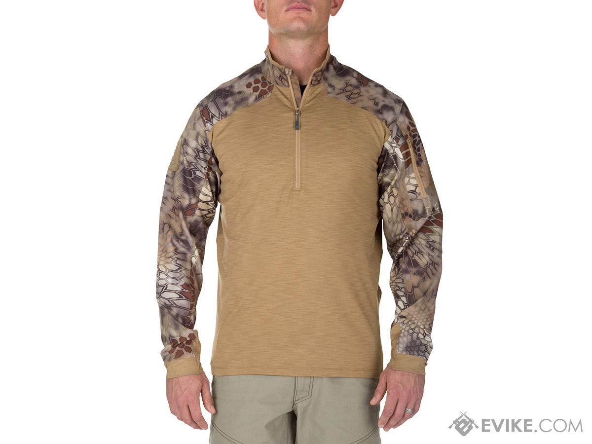 5.11 Tactical Rapid Half Zip Combat Shirt with Kryptek Sleeves - Coyote (Size: X-Large)