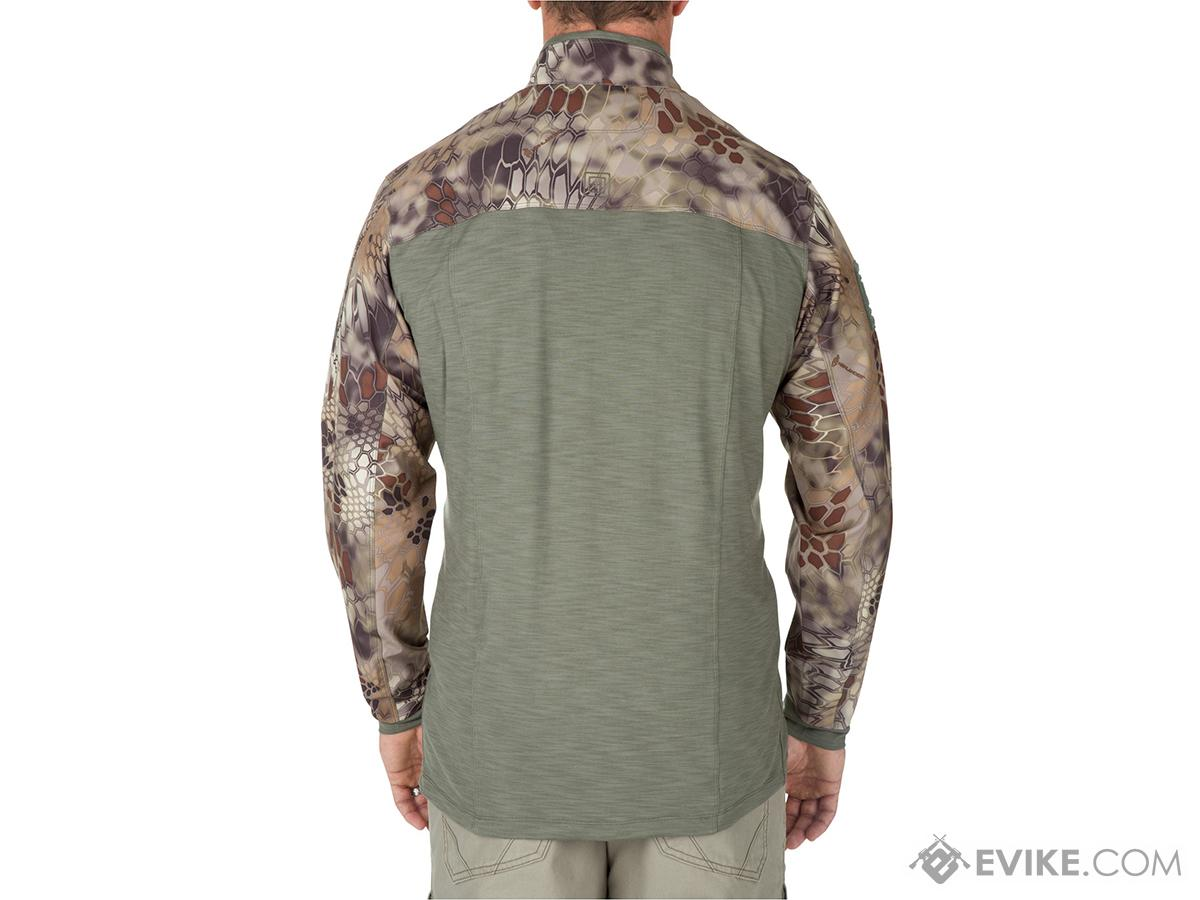 5.11 Tactical Rapid Half Zip Combat Shirt with Kryptek Sleeves - Sage Green (Size: X-Large)