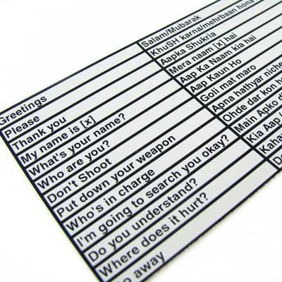 King Arms Decorative Arabic Translation Sticker Special Force Quick Reference Sheet