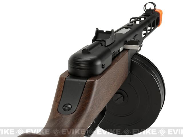 6mmProShop PPSh-41 Steel Bodied Electric Blow Back EBB Airsoft AEG Submachine Gun w/ Drum & Stick Magazines