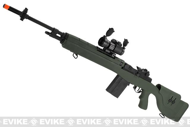 G&P M14 Socom-16 DMR Custom Airsoft AEG Sniper Rifle w/ Red Dot Scope - Foliage Green