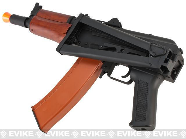 Full Metal AKS-74U / AK-74 Airsoft AEG Rifle with Real Wood Furniture by CYMA - (Package: Gun Only)