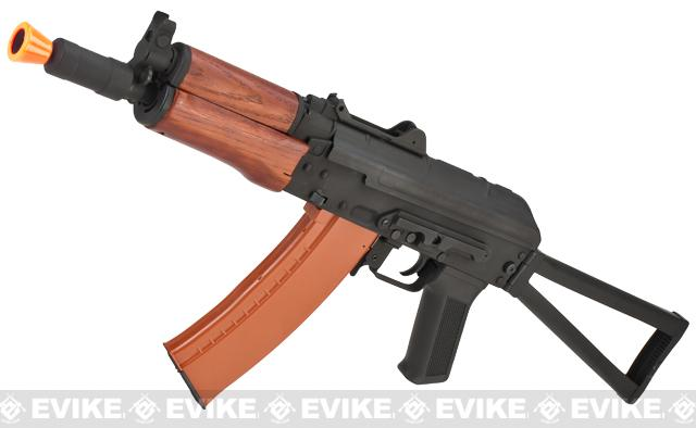 Full Metal AKS-74U / AK-74 Airsoft AEG Rifle with Real Wood Furniture by CYMA