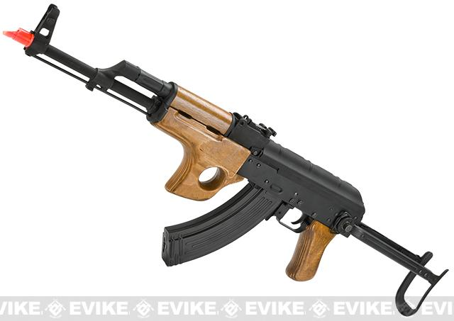 CYMA Full Metal AK47-SU Airsoft AEG Rifle with Folding Stock - Real Wood (Package: Add Battery + Charger)