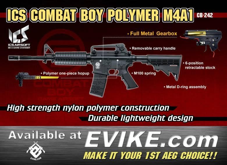 ICS Combat Boy Polymer M4A1 Airsoft AEG Rifle with Metal Gearbox