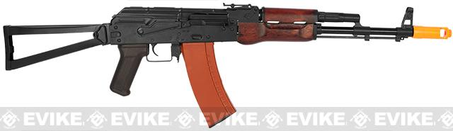APS Full Metal AK74 Folding Stock Electric Blowback Airsoft AEG Rifle w/ Real Wood Furniture and Scope Mount Base