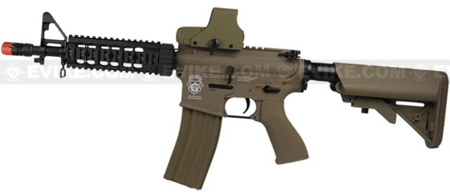 Evike Custom Class I G&G Blowback M4 CQBR Combat Machine Airsoft AEG - Tan (Package: Add 9.6 Butterfly Battery + Smart Charger)