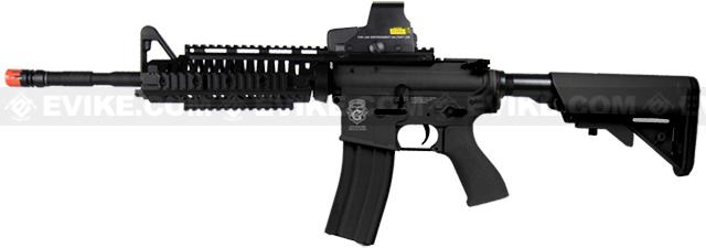 Evike Custom Class I G&G Blowback Full Length Carbine Combat Machine Airsoft AEG - M1 RIS Black (Package: Add 9.6 Butterfly Battery + Smart Charger)