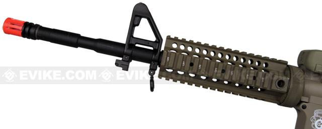 z Evike Custom G&G Full Length Carbine Combat Machine Airsoft AEG with CRANE Stock (Type B RIS / Tan)