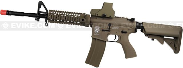 z Evike Custom G&G Blowback Full Length Carbine Combat Machine Airsoft AEG with CRANE Stock (Type B RIS / Tan)