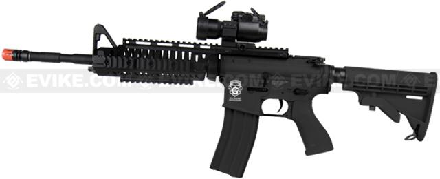 Evike Custom Class I G&G Blowback Full Length Carbine Combat Machine Airsoft AEG - M1 RIS Black (Package: Gun Only)