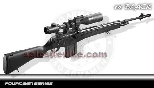 G&G M14 Full Size Airsoft AEG Rifle - Black (Package: Rifle)