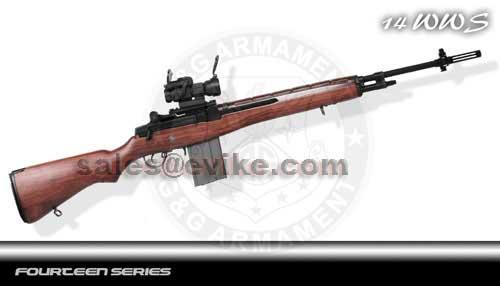 G&G Top Tech M14 Veteran Full Metal Real Wood Airsoft AEG - (Package: Add 8.4v 1600mAh Battery + Charger + BBs)