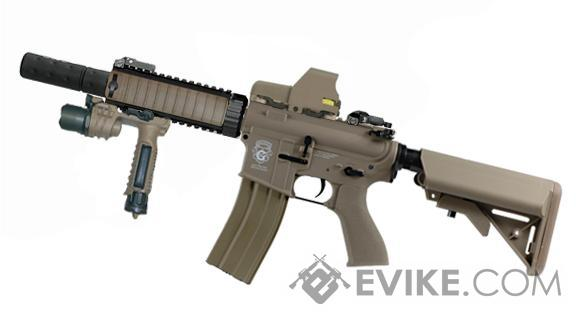 G&G Combat Machine Blowback M4 CQB-R AEG w/ Mock Suppressor - Tan (Package: Gun Only)