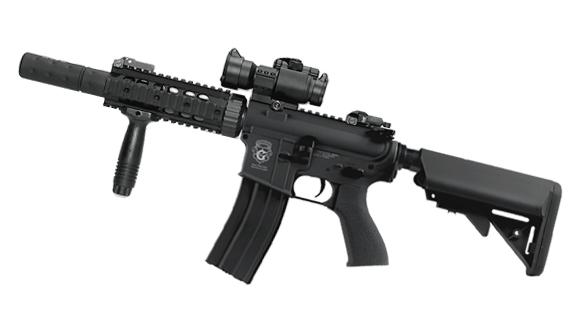 G&G Custom Blowback M4 CQB-R Combat Machine AEG w/ Mock Suppressor - Black (Package: Add 1x30mm Red/Green Dot Optic)