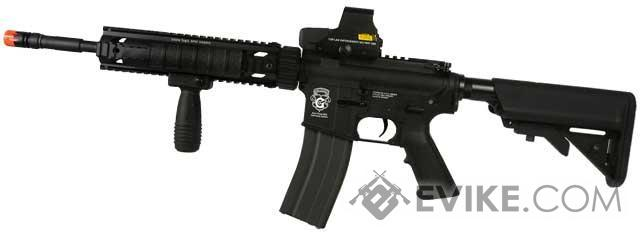 G&G Combat Machine Blowback M4 Carbine w/ 10 Free Float Railed Handguard Airsoft AEG - Black (Package: Gun Only)