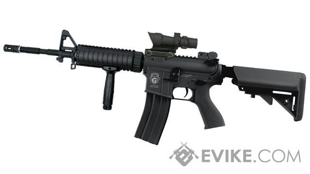 G&G Blowback M4 Full Length Carbine FF RAS Combat Machine Airsoft AEG - Black (Package: Add 9.6 Butterfly Battery + Smart Charger)