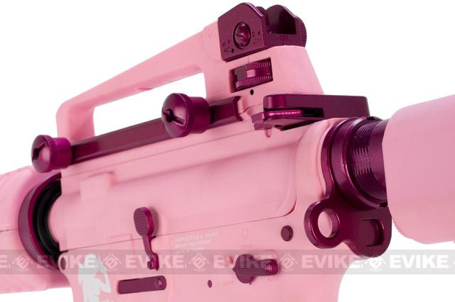 G&G M4 Carbine Femme Fatale Special Edition M4 Combat Machine Airsoft AEG Rifle - Pink (Package: Add 9.6 Butterfly Battery + Smart Charger)