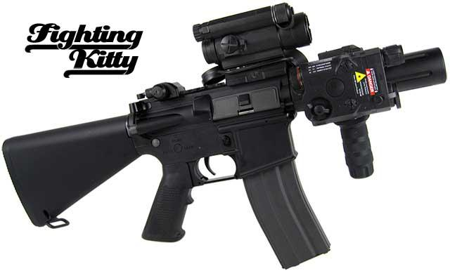 G&G Limited Edition Blowback Fighting Kitty Combat Machine Airsoft AEG Rifle - Black (Package: Add 9.6 Butterfly Battery + Smart Charger)
