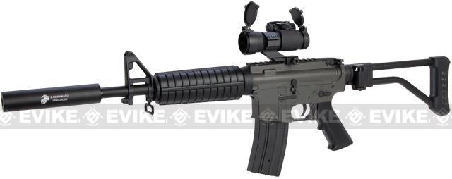 JG M4 Commando Airsoft AEG Rifle w Skeleton Side Folding Stock (Enhanced Li-Po Ready Upgraded Gearbox)