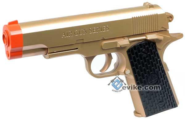 z MX 1911 Airsoft Spring Gun with Gold Color Finish