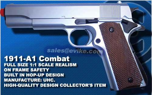 UHC Heavy Weight 1911 Full Size Airsoft Pistol - Silver