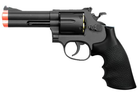 UHC TSD Sports Airsoft Revolver - 4 Barrel (Black / Black Grips)